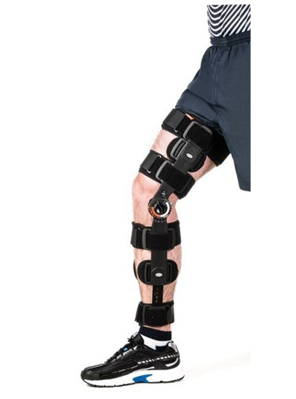 ROM Knee brace covering shin and thigh