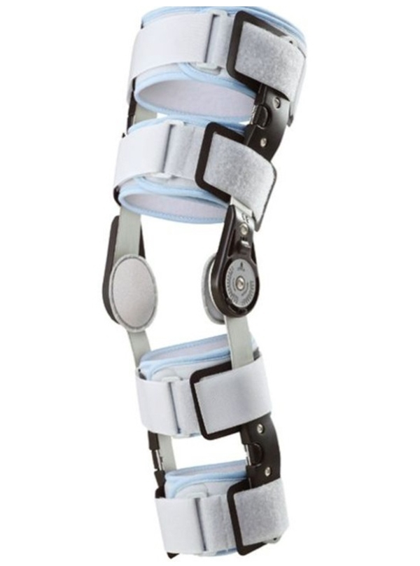 Post-operative knee brace with hinge